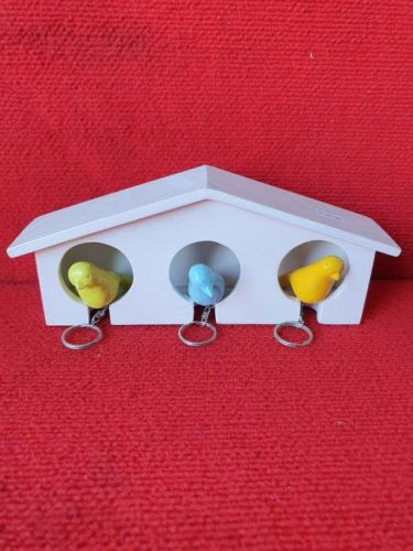 Bird house - 3 key holder - multi colour birds